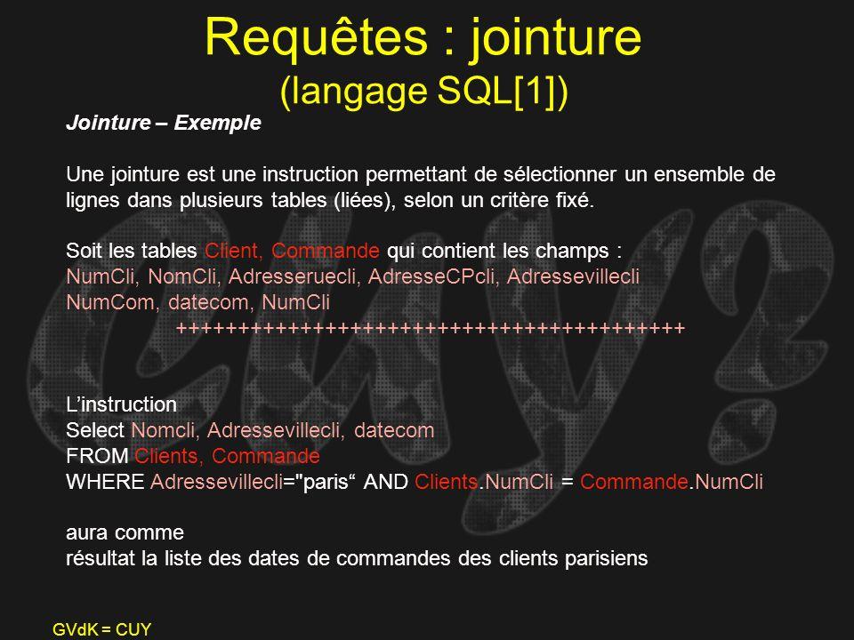 Requêtes : jointure (langage SQL[1])